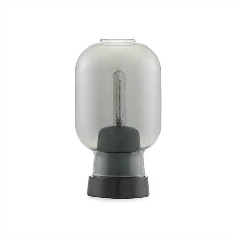 Normann Copenhagen Tischlampe Amp schwarzem Glas Marmor Ø14x26,5cm