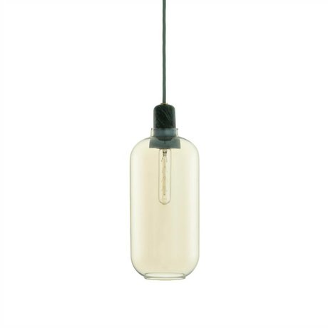 Normann Copenhagen Hanging lamp Amp gold glass green marble Ø11,2x26cm
