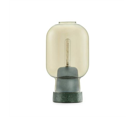 Normann Copenhagen Tafellamp Amp goud glas groen marmer Ø14x26,5cm