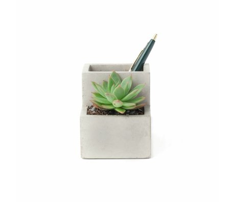 LEF collections Plant and pen holder small gray and white concrete 9,6x8x9cm