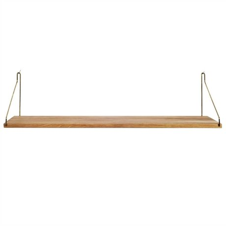 Frama Bookshelf gold brass brass oak 80x20cm