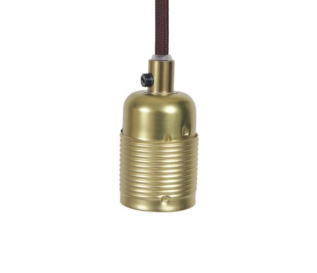 Frama Electrical cord with fitting e27 gold brass burgundy metal Ø4x7,2cm