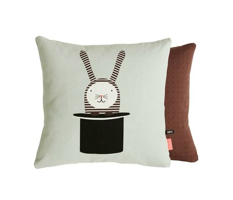 OYOY Cushion Rabbit in hat sided mingroen brown 40x40 cm