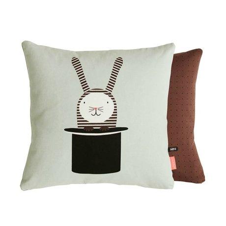 OYOY Coussin lapin dans le chapeau dégrossi mingroen brun 40x40 cm