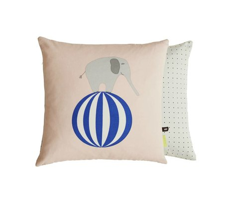 OYOY Cushion Elephant on ball sided pink gray cotton 40x40cm
