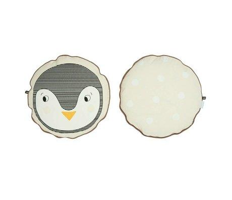 OYOY Throw Pillow Penguin white cotton 40cm