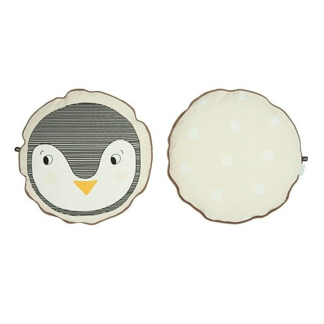 OYOY Coussin Penguin coton blanc 40cm