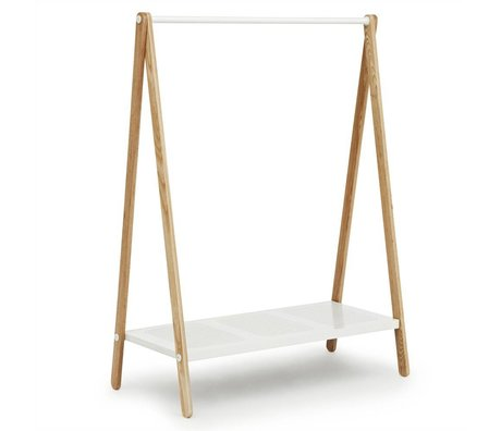 Normann Copenhagen Kledingrek Toj wit staal essen hout 160x120x59,5cm