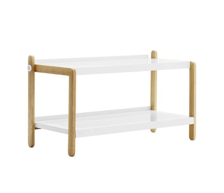 Normann Copenhagen Shoe rack Shoe white steel essenhout 42x76x34cm