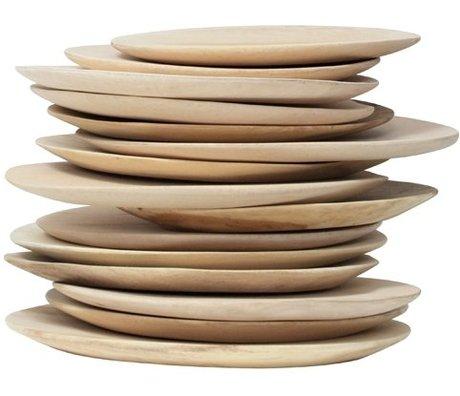 HK-living assiette bois brun 25cm
