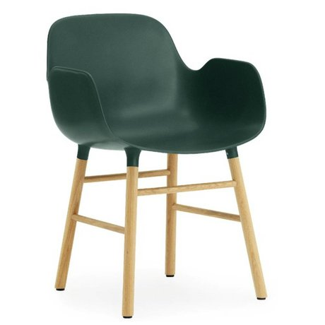 Normann Copenhagen Chair with armrest Form green plastic oak 79,8x56x52cm