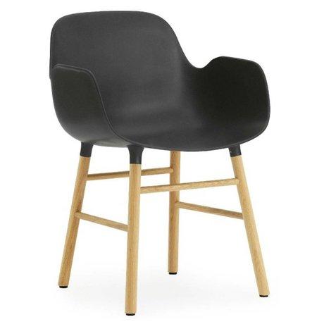 Normann Copenhagen Chair with armrest Form black plastic oak 79,8x56x52cm
