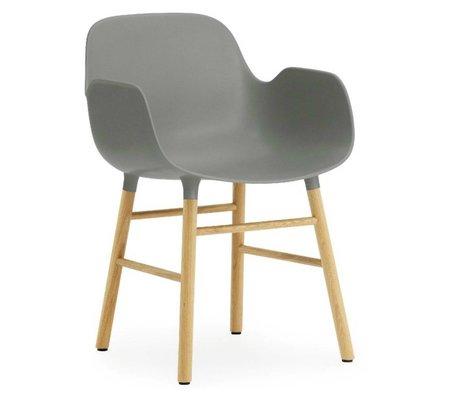 Normann Copenhagen Chair with armrest Form gray plastic oak 79,8x56x52cm