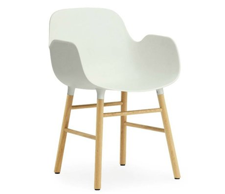 Normann Copenhagen Chair with armrest Form white plastic oak 79,8x56x52cm