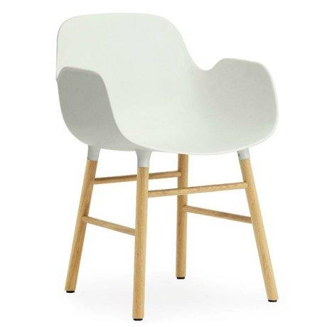 Normann Copenhagen Stuhl mit Armlehne Formular weißen Kunststoff Eichenholz 79,8x56x52cm
