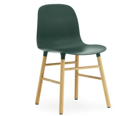 Normann Copenhagen Form green plastic chair oak 78x48x52cm