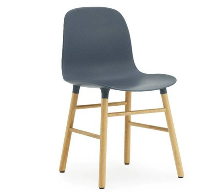 Normann Copenhagen Former plastique bleu chaise chêne 78x48x52cm