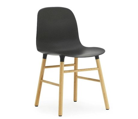 Normann Copenhagen Form black plastic chair oak 78x48x52cm