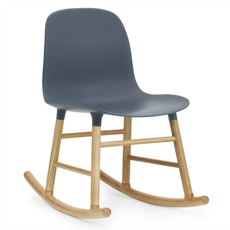 Normann Copenhagen Rocking Form blue plastic oak 73x48x65cm