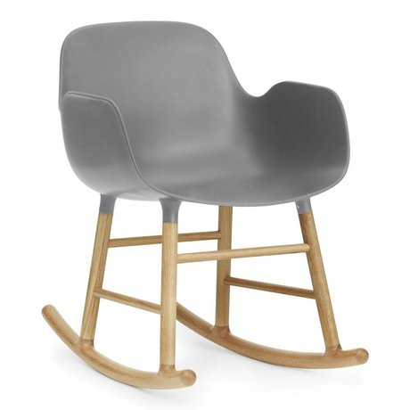 Normann Copenhagen Rocking chair with armrests Form gray plastic oak 73x56x65cm