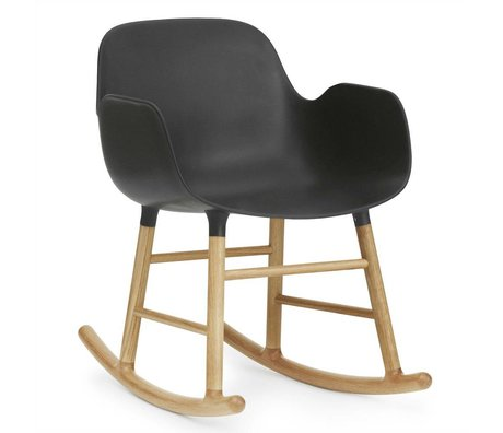 Normann Copenhagen Rocking chair with armrests Form black plastic oak 73x56x65cm