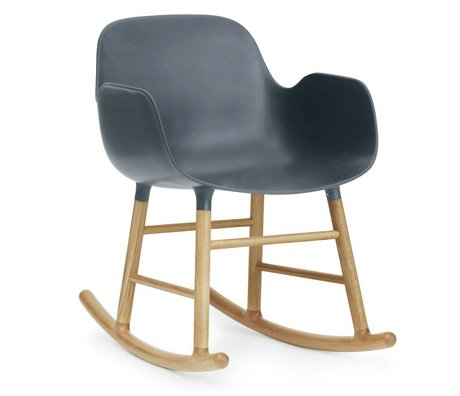 Normann Copenhagen Rocking chair with armrests Form blue plastic oak 73x56x65cm