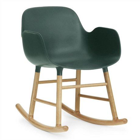Normann Copenhagen Rocking chair with armrests Form green plastic oak 73x56x65cm