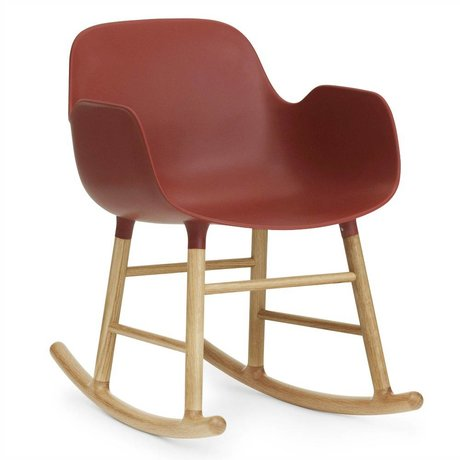 Normann Copenhagen Rocking chair with armrests Form plastic red oak 73x56x65cm