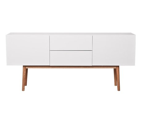 Zuiver TV cabinet cabinet high on wood white, with drawers and two doors 160x40x71,5cm