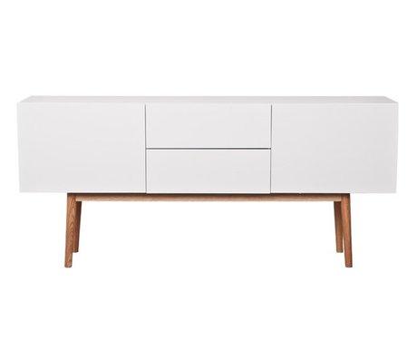 Zuiver TV Meuble haut sur le bois blanc, avec des tiroirs et deux portes 160x40x71,5cm