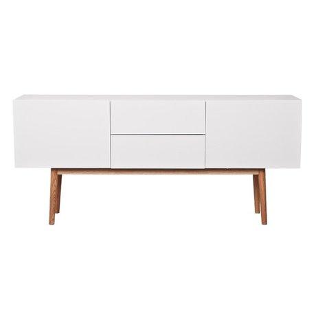 Zuiver TV-meubel kast high on wood wit, met lades en 2 deuren 160x40x71,5cm