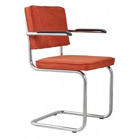 Zuiver Dining chair with armrest orange knit 48x48x85cm ARMCHAIR RIDGE RIB ORANGE 19A