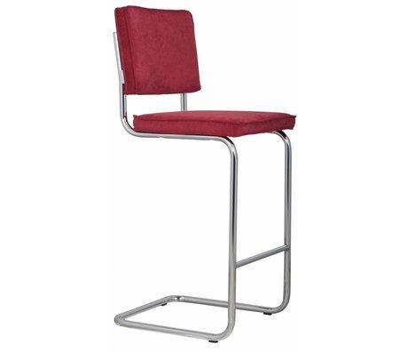 Zuiver Tabouret de bar rouges en tricot 48x50x113cm Ridge Tool barres rouges de 21A RIB