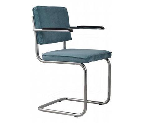 Zuiver chaise de salle à manger avec accoudoir tricot 48x48x85cm fauteuil bleu 12A RIB Blue Ridge