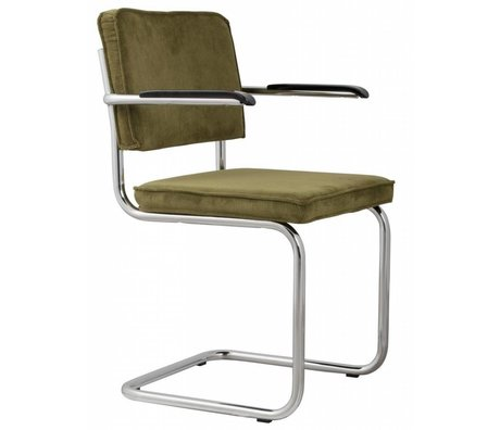 Zuiver Dining chair with armrest green knit 48x48x85cm ARMCHAIR GREEN RIDGE RIB 25A