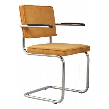 Zuiver chaise de salle à manger avec accoudoir jaune tricot 48x48x85cm FAUTEUIL RIDGE RIB 24A JAUNE