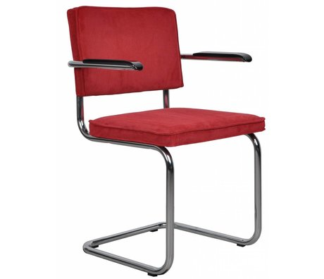 Zuiver Dining Stuhl mit Armlehne rot stricken 48x48x85cm SESSEL RIDGE RED RIB 21A