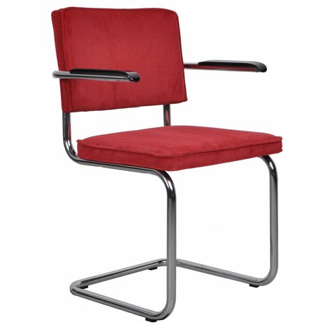 Zuiver Dining chair with armrest red knit 48x48x85cm ARMCHAIR RIDGE RED RIB 21A