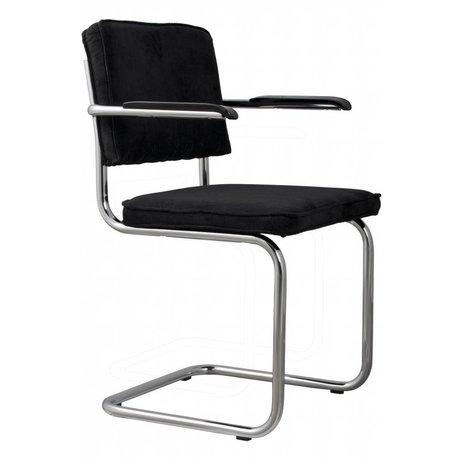 Zuiver chaise de salle à manger avec accoudoir tricot noir 48x48x85cm FAUTEUIL 7A Black Ridge
