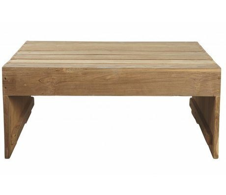 Housedoctor Brown table basse 82x70x35cm en bois de teck, table Woodie extérieur en teck
