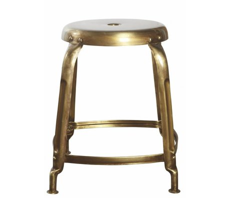 Housedoctor Ø36x45cm gold metal stool, Stool Define golden finish / lacquered