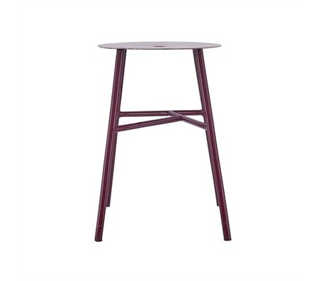 Housedoctor Stool K-stool burgundy leather steel 48x35x35cm
