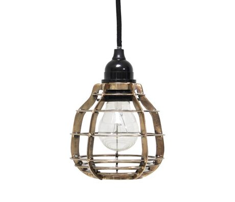 HK-living Hanging lamp LAB with plug brass metal Ø13x17cm, LAB lamp brass