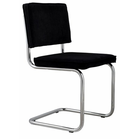Zuiver Dining chair black knit 48x48x85cm, CHAIR RIDGE BLACK RIB 7A