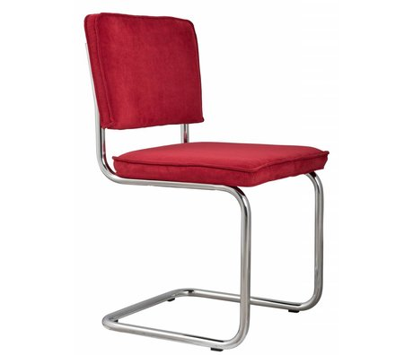 Zuiver Chaise salle 48x48x85cm tricot rouge, PRÉSIDENT RIDGE RED 21A RIB