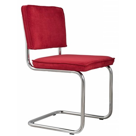 Zuiver Dining chair red knit 48x48x85cm, CHAIR RIDGE RED RIB 21A