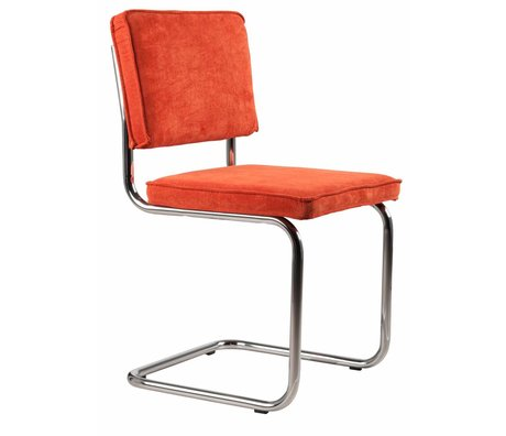 Zuiver Dining chair orange knit 48x48x85cm, CHAIR ORANGE RIDGE RIB 19A