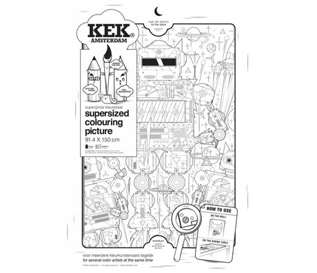 KEK Amsterdam XXL Coloring paper 91x150cm black and white, to the stars