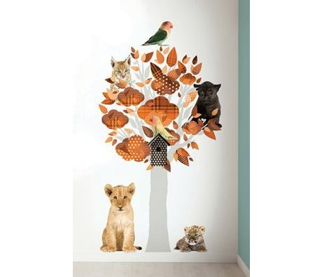 KEK Amsterdam Wandtattoo Baum safari orangenem Vinyl 88x145cm, Safari Tree Friends