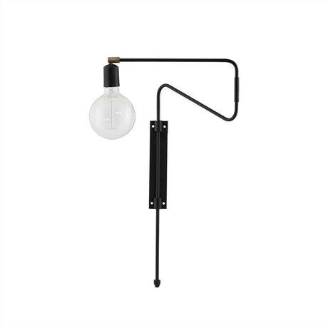 Housedoctor Wandlamp Swing zwart brass metaal 35cm
